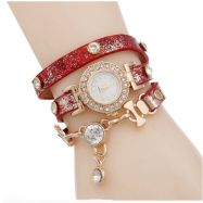 Ladies Gold Multilayer Cubic zirconia Leather Bracelet Wrist Watch Red